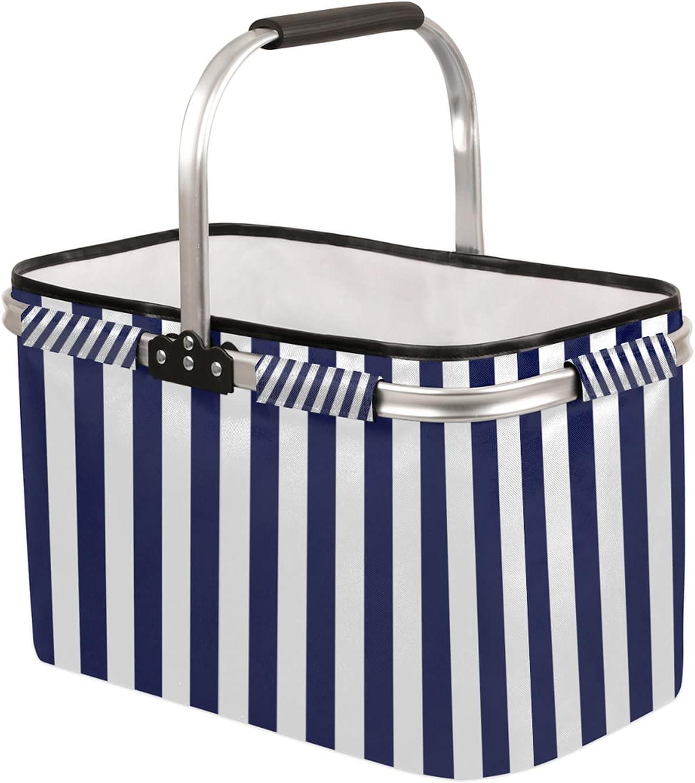 Blue Navy Max 86% OFF Stripe Al sold out. Collapsible Market Leakproo Damask Basket