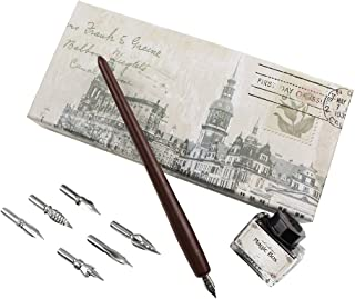 FEATTY Gifts Quill Pen & Ink Set 6 Nibs & Black Ink Bottle Antique Dip Wooden Pen Calligraphy Writing Pen Best Gift & Fancy Dip Pen for All
