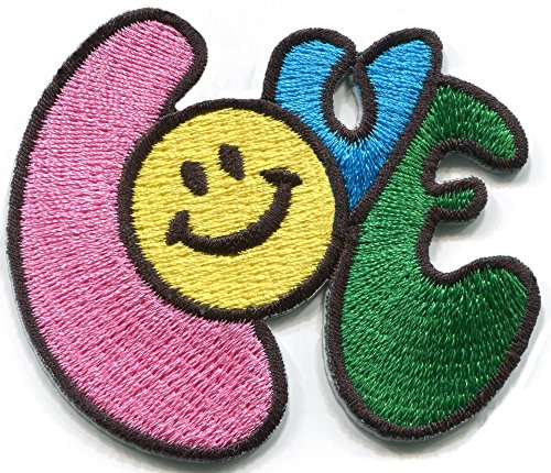 Smiley face Love Retro Seventies 70's Graphic Design Embroidered Applique Iron-on Patch S-1477