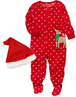 2Pcs Christmas Outfit Set Baby Girls Boys My First Christmas Rompers Pajamas with Christmas Hat