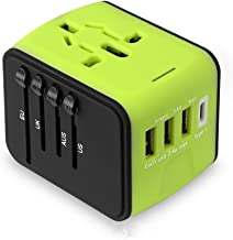 Morgofun Universe Travel Adapter, Worldwide Wall Charger AC Plug Adaptor with 2.5A 3 USB and 1 Type-C, All in One International Power Adapter for US UK Europe Australia - Green