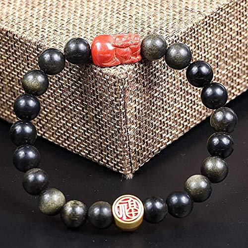 Gymqian Feng Shui Pulsera Natural Gold Cinnabar Pixiu/Piyao Fu Personaje con Brazalete Brazalete Buena Suerte Zhao Peach Blossom Amuleto Rico Amuleto Pulsera para Mujer Moda