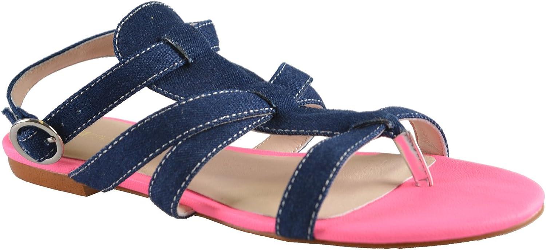 Just Cavalli Women's Ankle Strap Denim Sandals US 7 EU 37 Dark bluee