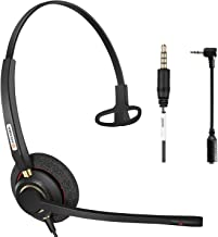 Arama Cell Phone Headset w/Lightweight Secure-Fit Headband, Pro Noise Canceling Mic and in-line Controls 3.5mm Headset for iPhone, Samsung, LG, HTC, BlackBerry Mobile Phone and iPad Tablets (A800MP)