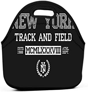 Lunch Bag, Thick insulated Lunch Tote Lunch Box Bag for adults, women, girls, school new york slogan typography ny track field grunge apparel print varsity vintage