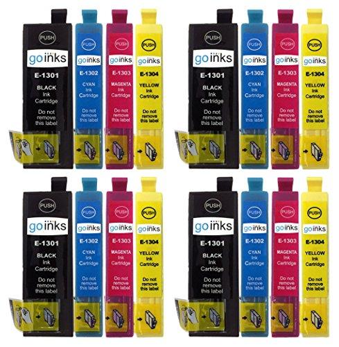 4 GB inkt cartridges, vervangt Epson T1306, compatibel/zonder OEM, voor Epson Stylus & Workforce-printers (16 inkt)