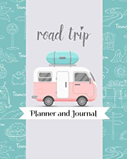 Road Trip Planner and Journal: Pink Blue RV Camper Themed Travel Organizer For Family Vacations