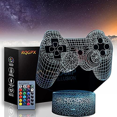 Consola de juegos 3D Ilusión óptica noche luz USB lámpara 16 colores cambio automático escritorio decoración lámparas regalo cumpleaños con control remoto