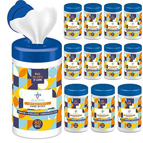 ALTA + Alcohol Free Hand Sanitizing Wipes, 80 Wipes, Canister Pack, 12 Canisters, Total 960 Wipes