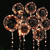 6 Packs LED Light Up BoBo Balloons Warm White,10 PCS Bobo Balloons,3 Levels Flashing LED String Lights,20 Inches Bubble Balloons Helium Style, for Christma/Birthday/Wedding Party Decoration