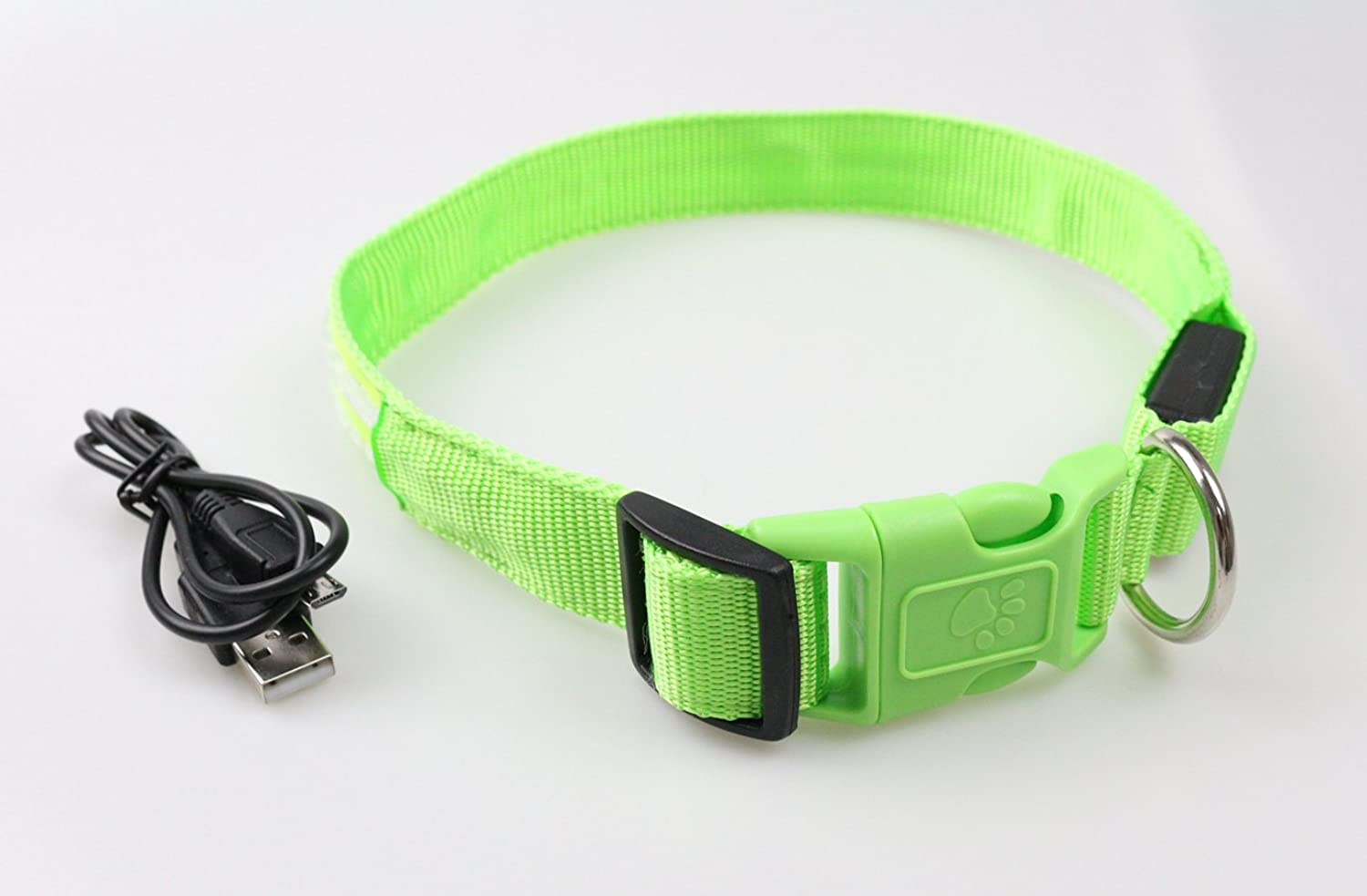 LovoIn LED Dog Collar, USB Rechargeable, Super Bright, Double Fiber Optics LED Rings, Weather Resistance, 3 Flashing Modes, 5 colors (Large, Green)