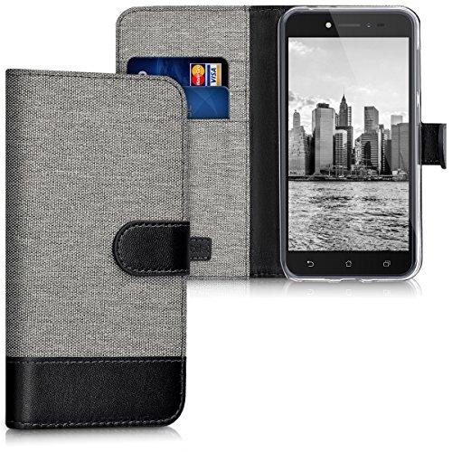 kwmobile Asus ZenFone Live (ZB501KL) Hülle - Kunstleder Wallet Case für Asus ZenFone Live (ZB501KL) mit Kartenfächern & Stand - Grau Schwarz
