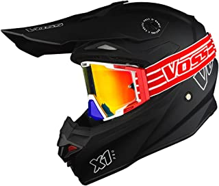 Voss X1 Pro Matte Black with Red and Blue ONE Goggles included - DOT - XS