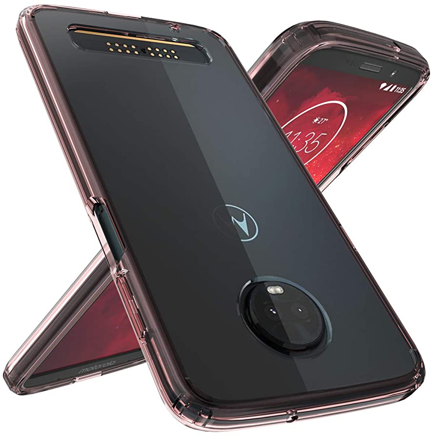 Moto Z3 Play Case, Moto Z3 Case, OUBA [Shock Absorption] Air Hybrid Armor Defender Protective Case and Crystal [Clear] Back Cover Compatible for Motorola Moto Z3 Play - Rose Gold