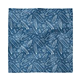 Ambesonne Surfboard Decorative Napkins Set of 4, Blue Waters Oceanic Elements Waves Swirls Doodle White...