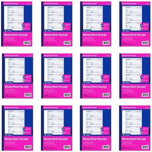 Adams TC1182 - Cuaderno para recibos de dinero y alquiler, 3 piezas, sin carbono, color blanco/marrón/rosa, 17,78 x 27,94 cm, funda para envoltorio, 100 juegos por libro, 4 recibos por página