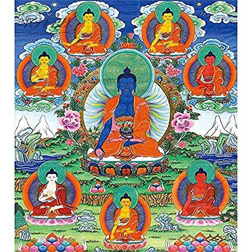 Mocmm Jigsaw Puzzle Wooden Jigsaw Puzzle 1000 Piece Medicine Buddha Bhaisajyaguru Tibetan Buddhist Thangka Painting Art DIY Collectibles