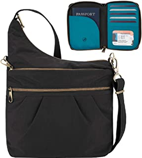 Anti-Theft Signature 3 Compartment Travel Cross Body Shoulder Bag with Matching RFID Blocking Zip Around Passport Travel Wallet, Black