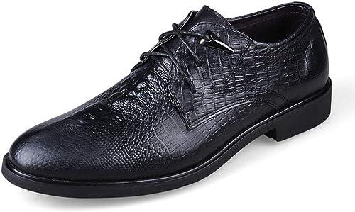 Shengjuanfeng Chaussures décontractées en Cuir pour Hommes à Motifs de Crocodile Chaussures Basses Chaussures (Couleur   Noir, Taille   43)