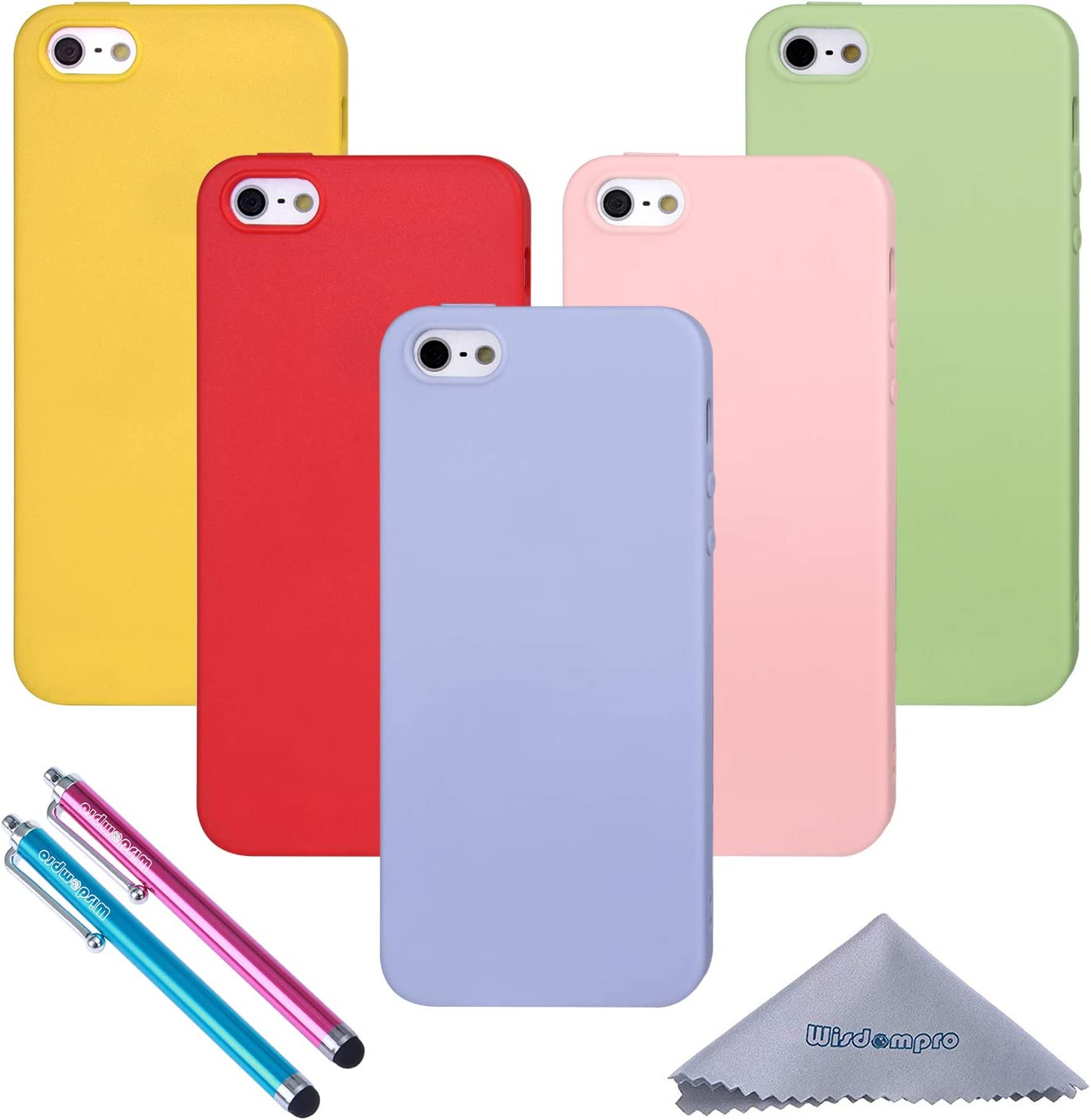 iPhone 5s Case, Wisdompro 5 Pack Bundle of Colorful Soft TPU GEL Slim Fit Protective Case Cover for Apple iPhone 5, iPhone 5s&iPhone SE 1st Generation(Green, Light Blue, Pink, Yellow, Red)-Candy Color