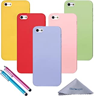 Wisdompro iPhone 5s Case, 5 Pack Bundle of Colorful Soft TPU Gel Slim Fit Protective Case Cover for Apple iPhone 5, iPhone 5s & iPhone SE (Green, Light Blue, Pink, Yellow, Red) - Candy Color