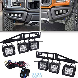 6x 3'' LED Fog light Cubes +Hidden Bumper Mounting Bracket w/Rocker Switch Wiring Kit for Triple LED Fog Lights Fit 2017-2018 Ford Raptor