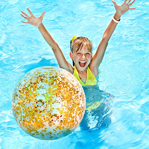Hsei 3 Pieces Inflatable Beach Ball Glitter Beach Ball Floatable Confetti Ball for Summer Beach, Pool and Party Favor (Golden)