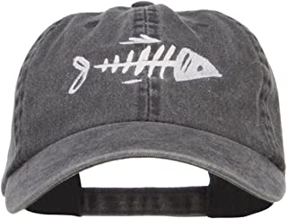 e4Hats.com Fish Bone Embroidered Washed Cap