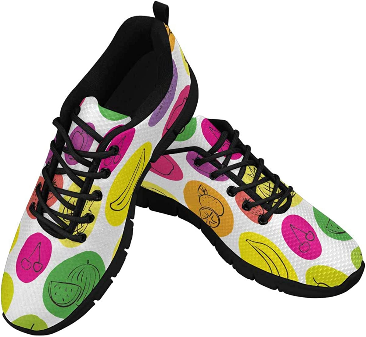 INTERESTPRINT Hand Drawn Fruits on Colorful Dots Women's Athletic Walking Shoes Comfort Mesh Non Slip
