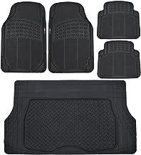 Motor Trend Heavy Duty Black All Season Odorless Rubber - 4 Piece Floor Mats w/ 1 Piece Trim to Fit Trunk Cargo Liner