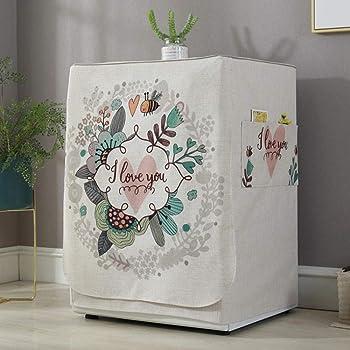 Kaever Coperchio della Lavatrice Coperchio Antipolvere con Foglie di Palma con Tasca per Lavatrice asciugatrice Caricatore Frontale