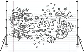 Teen Room Decor Stylish Backdrop,Be A Super Star Phrase on Notebook Paper Backdrop with Stars Crown Print for Photography Festival Decoration,59''W x 39''H
