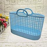 WEIAIXX La Gran Canasta De Mano Lavar La Caja De Almacenamiento De Plástico Cesta Cesta Cesta De Compras De Supermercado Baño Ducha Azul Ducha De Mano Cesta De Luz Suave Azul