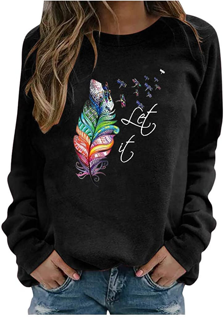 Sweatshirts for Women Pullover,WomenFeather Print Sweatshirts Tops Long Sleeve O-Neck Tops Plus Size Pullover Shirts