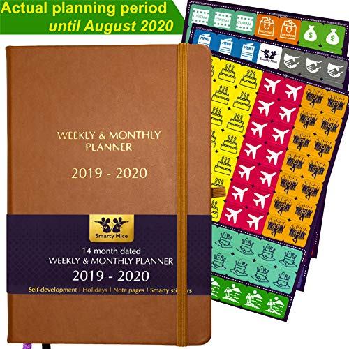 2019-2020 Weekly Monthly Planner, 14 Month Until August 2020 (incl. February, March, April), Stickers, A5, Thick Paper, Hardcover, Back Pocket, Productivity Academic Goal Organizer (Brown)
