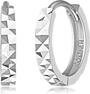 14k Yellow OR White Gold 2mm Thickness Multifaceted Huggie Earrings (11 x 11 mm)