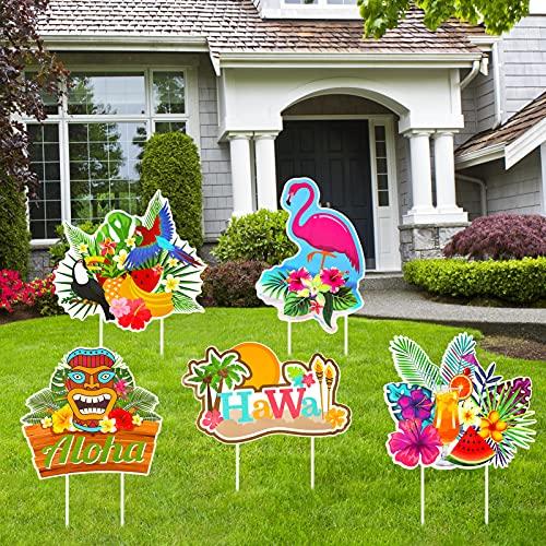 HOWAF Aloha Hawaiian Yard Sign Decorations for Summer Garden Outdoor Decor,...