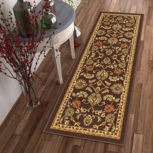 Well Woven Non-Skid/Slip Rubber Back Antibacterial 2x7 (2' x 7' Runner) Rug Timeless Oriental Brown Traditional Classic Sarouk Thin Low Pile Machine Washable Indoor Outdoor Kitchen Hallway Entry Minnesota