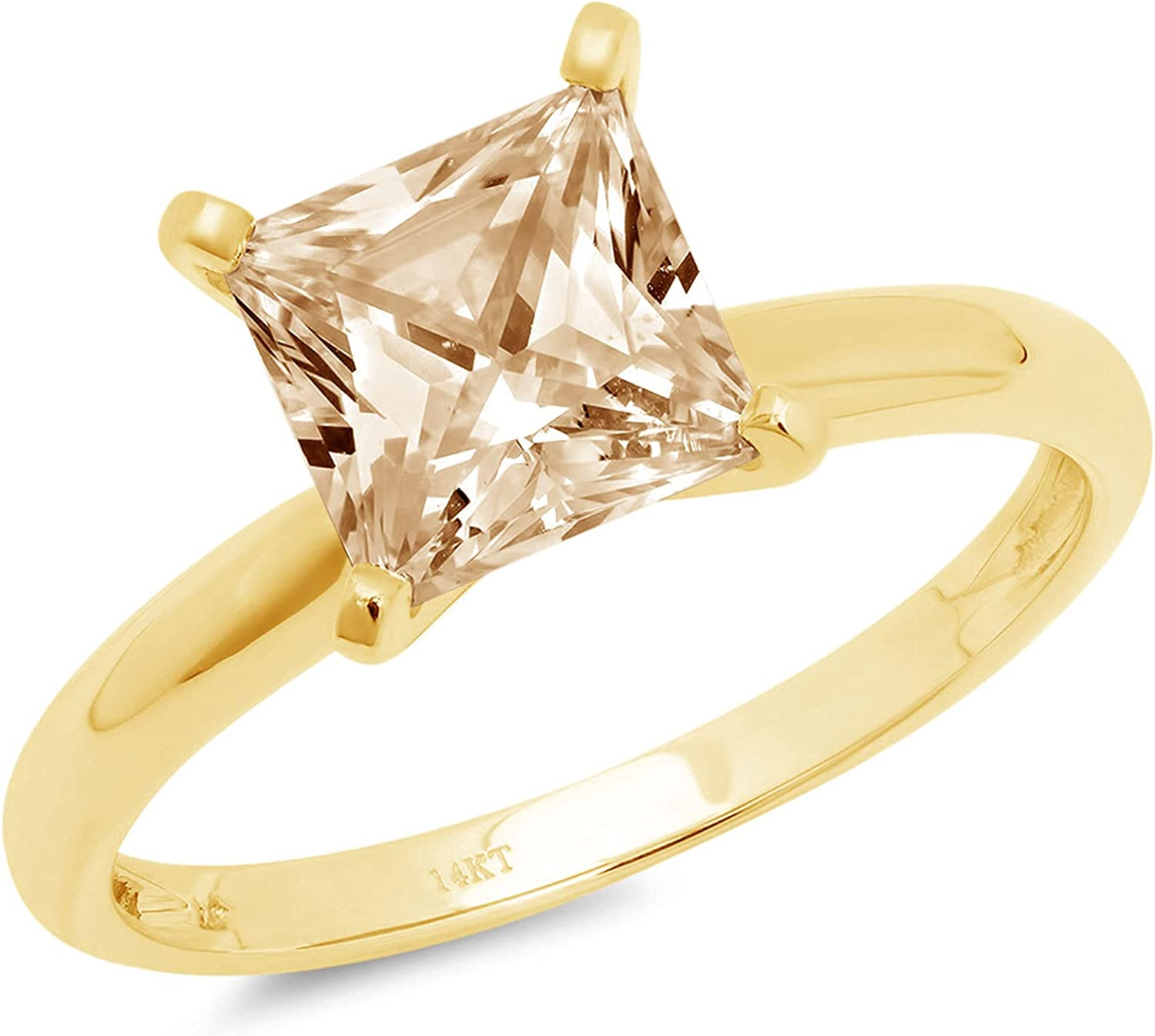 Clara Pucci 0.50 ct Brilliant Princess Cut Solitaire Natural Brown Morganite Gem 4-Prong Engagement Wedding Bridal Promise Anniversary Ring Solid 18K Yellow Gold for Women