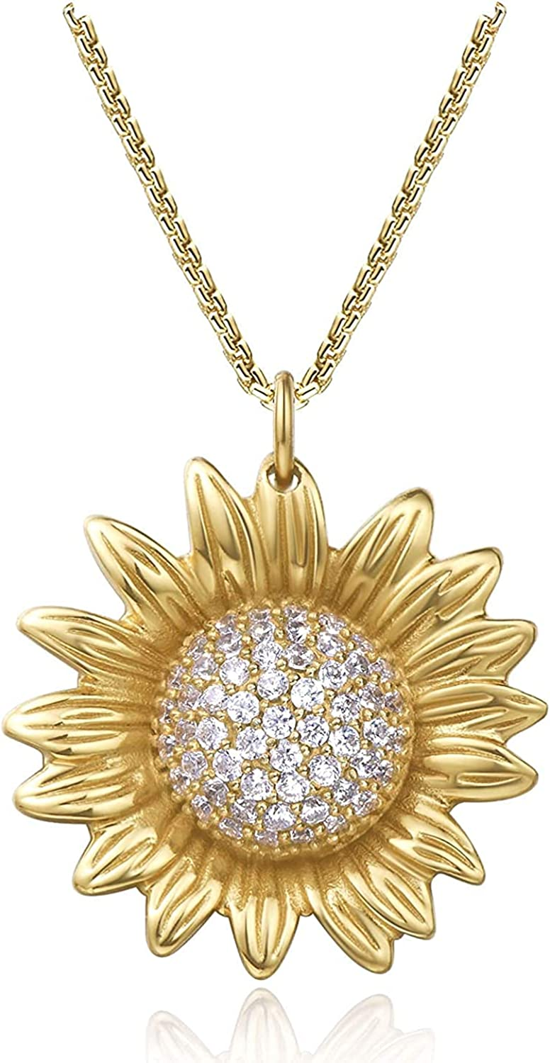 Sunflower Necklace for Women 14K Gold Plated Pendant Necklaces for Women Cubic Zirconia Sunflower Charms Necklace Flower Necklace Gift for Her