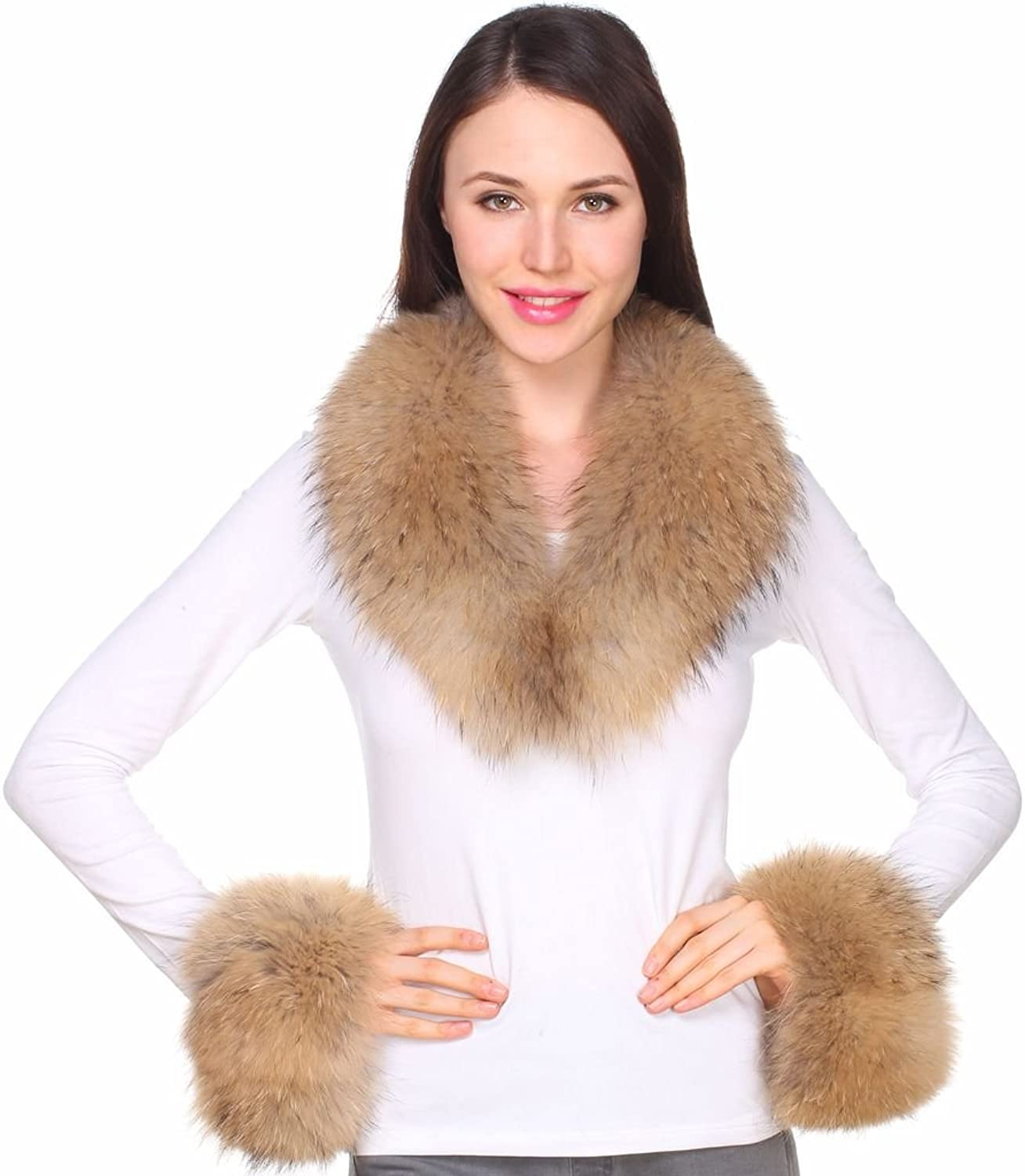 Ferand Women's Detachable Real Raccoon Fur Collar and Cuffs for Jacket Coat in Winter