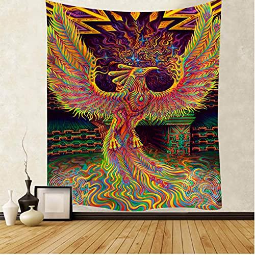 Phoenix tapiz Mandala tapiz colgante de pared decoración macramé hippie brujería tapiz 200x150cm