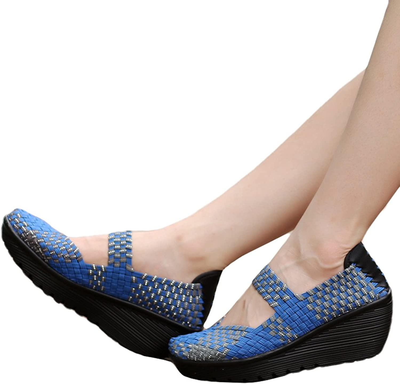 GilesJones Wedge Flats shoes Women,Casual Handmade Woven Peep Toe Platform Loafers shoes