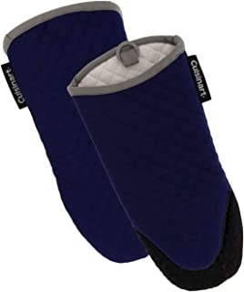 Cuisinart Silicone Oven Mitts, 2pk - Heat Resistant Quilted Oven Gloves to Safely Handle Hot Cookware - Soft Insulated Deep Pockets, Non-Slip Grip and Convenient Hanging Loop - Navy Aura
