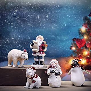 NBHUZEHUA 5pc Plastic Mini Christmas Village Figurines Collectible Toy Gifts for Kids Boy Girl Home Decorations