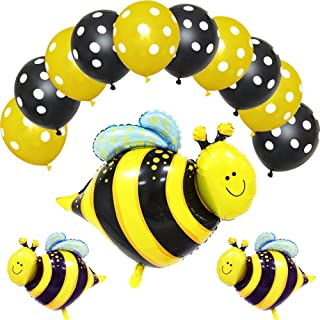 ED-Lumos 13Pcs Yellow Bees Reusable Helium Balloons with Latex Balloons for Kids Birthday Party Decoration Gift