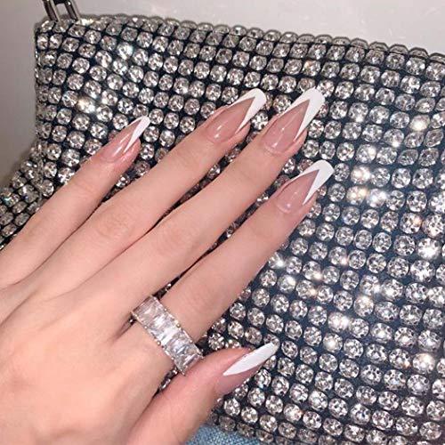 Handcess Sarg Französisch Falsche Nägel Glänzende lange Ballerina Drücken Sie auf Nagel Weiß Acryl Kunst Vollständige Abdeckung Gefälschte Nagel Stick auf Nägeln für Frauen und Mädchen (24Pcs)