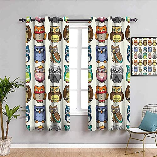 JYDFC Cortinas Opacas - Impresión Digital 3D - Aislamiento Térmico Reducción De Ruido - Sala De Estar Dormitorio Cocina Cortina De Guardería - 160X115 Cm - Color Moda Animal Búho