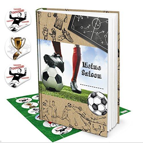 Cadeauset voetbalboek geschenk voetballer jongens mijn seizoen + 24 ronde voetbalstickers stickers album als verjaardagscadeau cadeau-idee voetballer