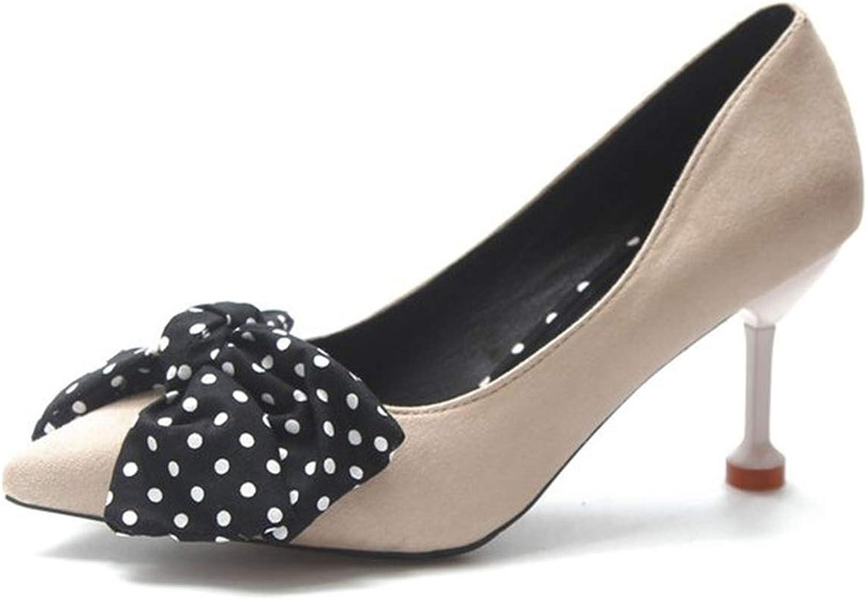 Polka Dot Women Pumps Kitten Heel Women Sandals Bow Tie Casual Pointed Toe Slip On Pumps